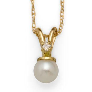 "Child's Cultured Pearl and Diamond Accent Necklace in 14kt Yellow Gold. 15"", , default"