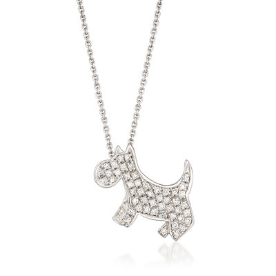 Roberto Coin .21 ct. t.w.  Diamond Dog Necklace in 18kt White Gold, , default
