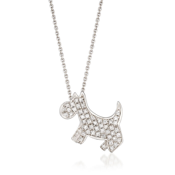 "Roberto Coin .21 ct. t.w.  Diamond Dog Necklace in 18kt White Gold. 16"", , default"