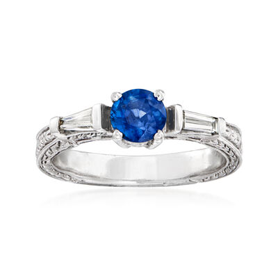 C. 1990 Vintage .65 Carat Sapphire and .20 ct. t.w. Diamond Ring in 14kt White Gold