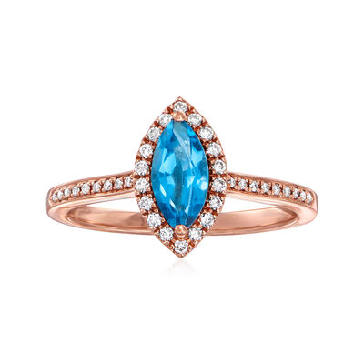 C. 1990 Vintage .78 Carat Blue Topaz and .15 ct. t.w. Diamond Ring in 14kt Rose Gold