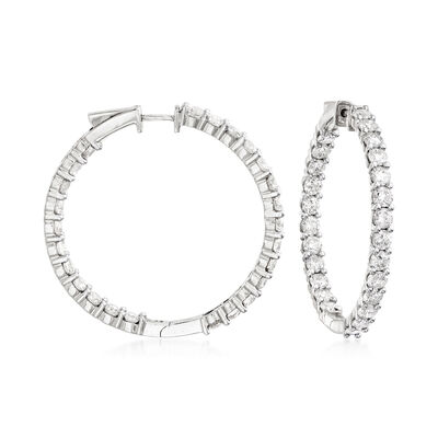 10.00 ct. t.w. Diamond Inside-Outside Hoop Earrings in 14kt White Gold, , default