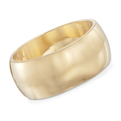 30mm 18kt Gold Over Sterling Silver Bangle Bracelet, , default