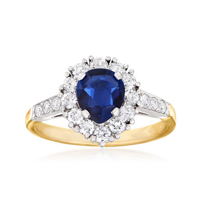 C. 1990 Vintage .80 Carat Sapphire and .50 ct. t.w. Diamond Ring in Platinum and 14kt Yellow Gold, , default