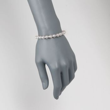 "7-7.5mm Cultured Akoya Pearl Bracelet with Diamond Accents and 14kt White Gold. 7"", , default"