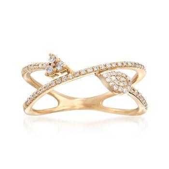 .20 ct. t.w. Diamond Crisscross Arrow Ring in 14kt Yellow Gold, , default