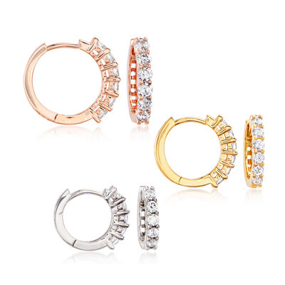 1.20 ct. t.w. CZ Jewelry Set: Three Pairs of Huggie Hoop Earrings in Tri-Colored Sterling Silver