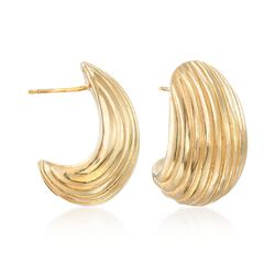 Italian 14kt Gold Over Sterling Ribbed Curve Earrings, , default