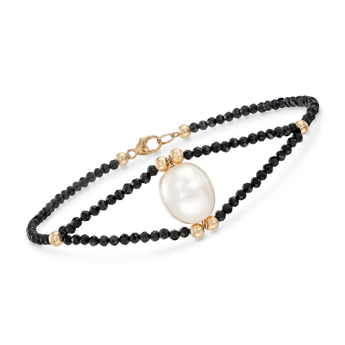 """10-10.5mm Cultured Pearl and 10.00 ct. t.w. Black Spinel Bead Bracelet in 14kt Yellow Gold. 8"""""""
