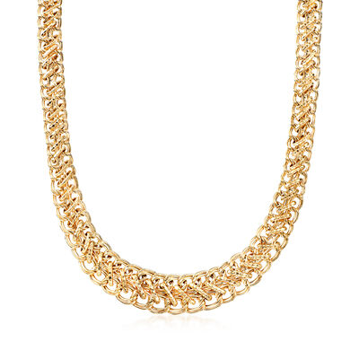 18kt Yellow Gold Over Sterling Silver Graduated Oval-Link Necklace