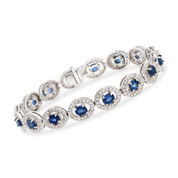 7.25 ct. t.w. Sapphire and 2.25 ct. t.w. Diamond Oval Link Bracelet in 14kt White Gold, , default