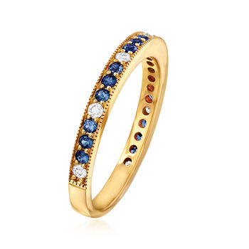 .30 ct. t.w. Sapphire and .13 ct. t.w. Diamond Ring in 14kt Yellow Gold. Size 7, , default
