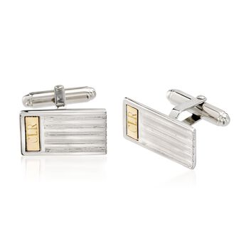 Sterling Silver and 14kt Yellow Gold Three-Initial Bar Cuff Links, , default