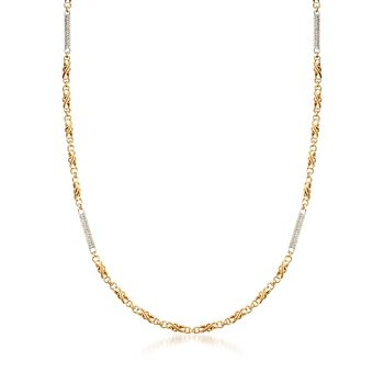 """C. 1990 Vintage 2.20 ct. t.w. Diamond Bar Station Necklace in 18kt Two-Tone Gold. 36"""", , default"""