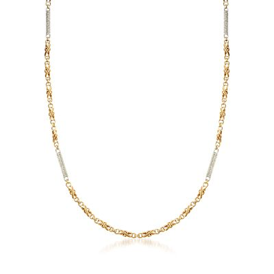 C. 1990 Vintage 2.20 ct. t.w. Diamond Bar Station Necklace in 18kt Two-Tone Gold, , default