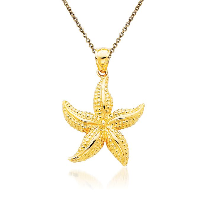 14kt Yellow Gold Starfish Pendant Necklace