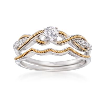 .35 ct. t.w. Diamond Bridal Set: Engagement and Wedding Rings in 14kt Two-Tone Gold, , default