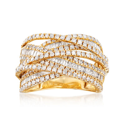 2.00 ct. t.w. Round and Baguette Diamond Highway Ring in 14kt Yellow Gold, , default