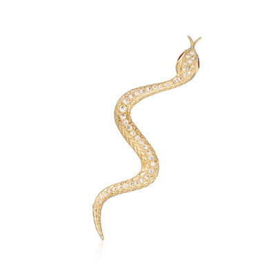 C. 1980 Vintage .75 ct. t.w. Diamond and .25 ct. t.w. Ruby Snake Pin in 18kt Yellow Gold, , default
