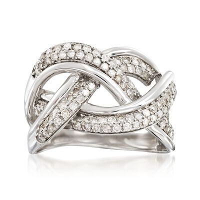 .75 ct. t.w. Diamond Interlocking Wave Ring in Sterling Silver , , default