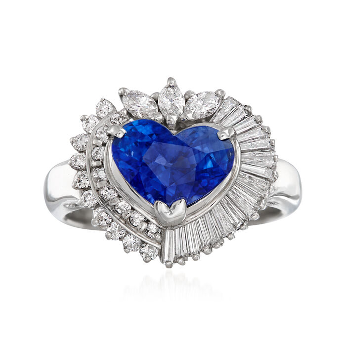 C. 1990 Vintage 2.62 Carat Sapphire and .71 ct. t.w. Diamond Heart Ring in Platinum. Size 5.5, , default