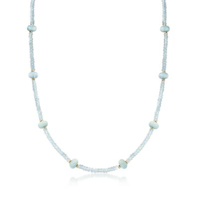 80.00 ct. t.w. Aquamarine Bead Station Necklace with 14kt Yellow Gold, , default