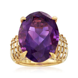 C. 1980 Vintage 14.60 Carat Amethyst and .68 ct. t.w. Baguette Diamond Ring in 18kt Yellow Gold, , default