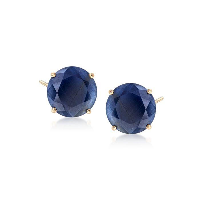 7.00 ct. t.w. Sapphire Stud Earrings in 14kt Yellow Gold, , default