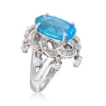 C. 2000 Vintage 10.10 ct. t.w. Blue Topaz and .16 ct. t.w. Diamond Ring in 14kt White Gold. Size 6.75, , default