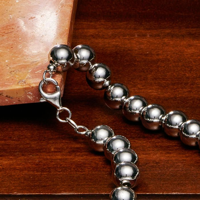 8mm Sterling Silver Bead Necklace with Free Stud Earrings