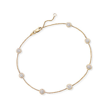 ".25 ct. t.w. Pave Diamond Station Anklet in 14kt Yellow Gold. 9"", , default"