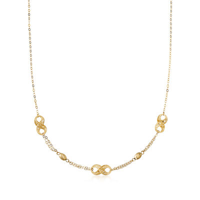 Italian 18kt Yellow Gold Diamond-Cut Filigree Infinity-Link and Bead Station Necklace, , default
