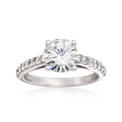 2.30 ct. t.w. Synthetic Moissanite Engagement Ring in 14kt White Gold, , default