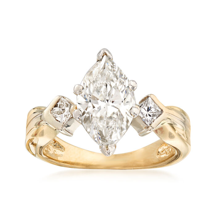 C. 1980 Vintage 2.25 ct. t.w. Engagement Ring in 14kt Yellow Gold. Size 5
