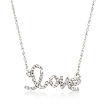 """.10 ct. t.w. Diamond """"Love"""" Necklace in 14kt White Gold. 18.75"""", , default"""