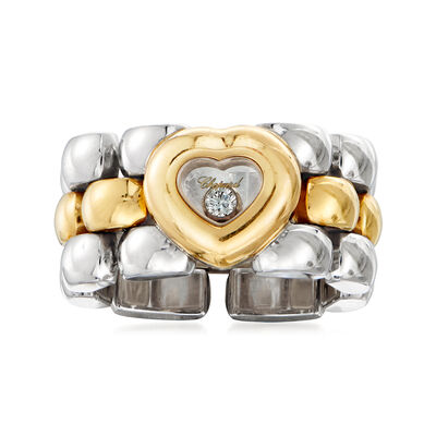 "C. 1990 Vintage Chopard ""Happy Hearts"" Diamond-Accented Link Ring in 18kt Two-Tone Gold"
