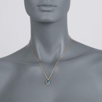"2.00 Carat Blue Topaz Pendant Necklace in 14kt Yellow Gold. 18"", , default"