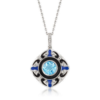 3.00 ct. t.w. Swiss Blue and White Topaz Pendant Necklace with Enamel in Sterling Silver