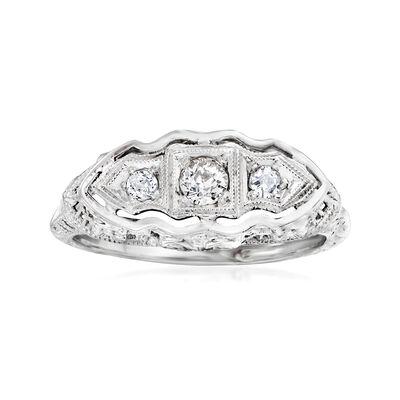 C. 1940 Vintage .25 ct. t.w. Diamond Filigree Ring in 18kt White Gold