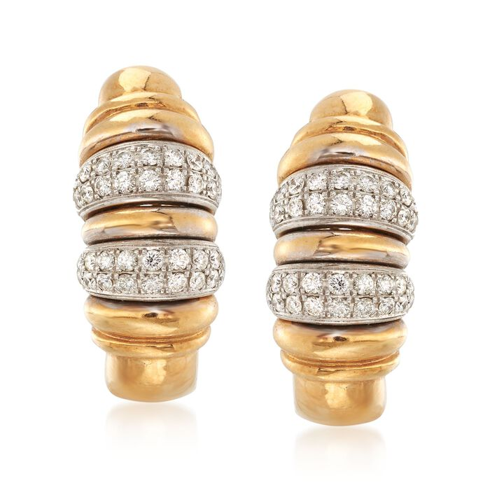 C. 1990 Vintage .85 ct. t.w. Diamond Ribbed Earrings in 18kt Yellow Gold, , default