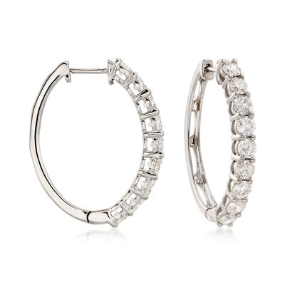3.00 ct. t.w. Diamond Hoop Earrings in 14kt White Gold