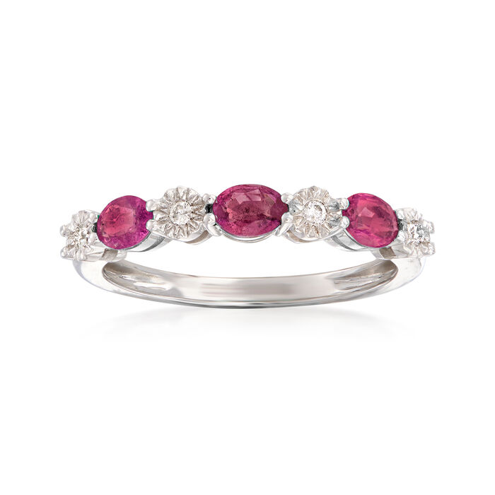 .60 ct. t.w. Ruby and Diamond-Accented Stackable Ring in 14kt White Gold, , default