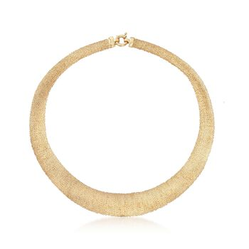 """Italian 18kt Gold Over Sterling Silver Wire-Wrapped Collar Necklace. 20"""", , default"""