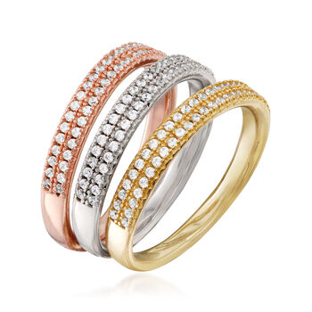 .80 ct. t.w. CZ Jewelry Set: Three Rings in Rose and Yellow 18kt Gold Over Sterling and Sterling Silver