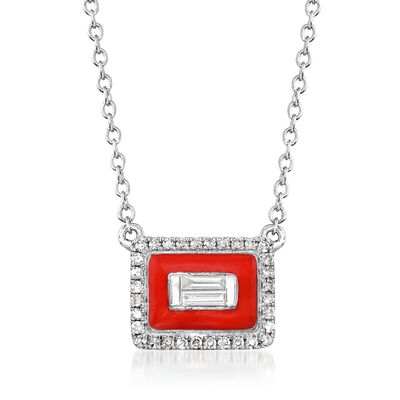 .15 ct. t.w. Diamond Rectangle Necklace with Red Enamel in 18kt White Gold, , default