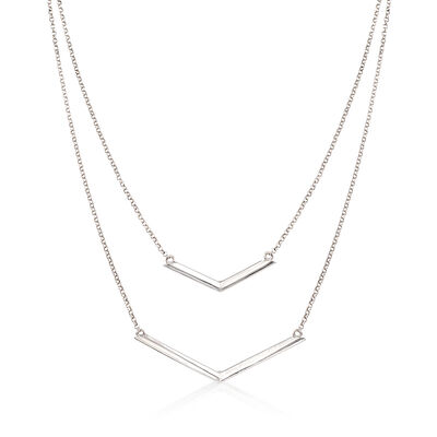 Italian Sterling Silver Double Layer Chevron Necklace, , default