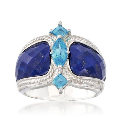 Lapis and 1.10 ct. t.w. Blue Topaz Ring in Sterling Silver