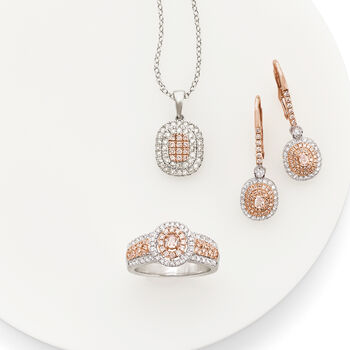 .50 ct. t.w. Pink and White Diamond Pendant Necklace in 14kt White and Rose Gold, , default