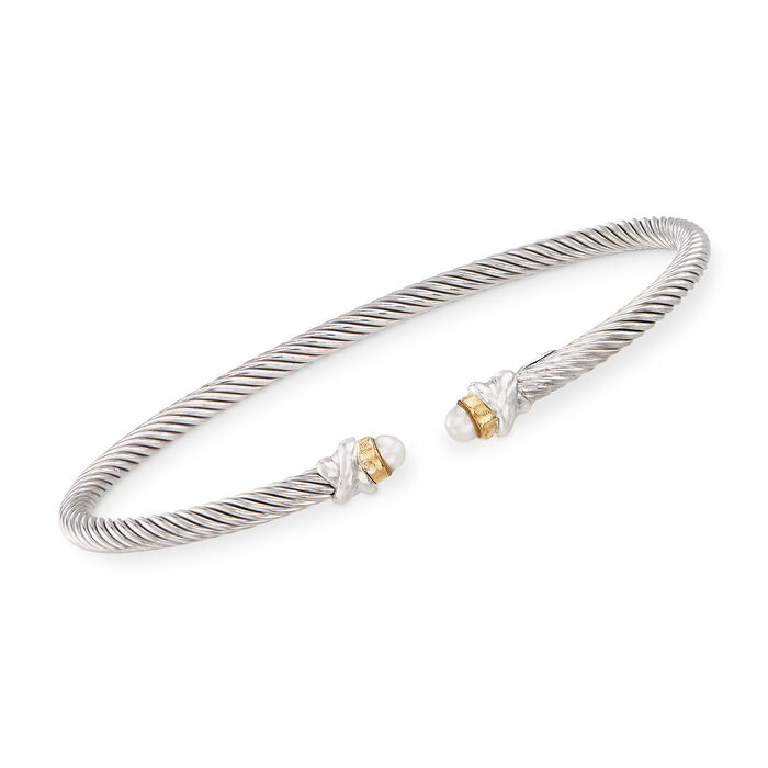 "Phillip Gavriel ""Italian Cable"" 3.2mm Cultured Pearl Sterling Silver Cuff Bracelet with 18kt Gold. 7"", , default"