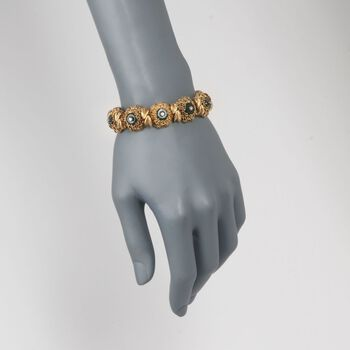 """C. 1960 Vintage Green Jade and .50 ct. t.w. Diamond Floral Bracelet in 18kt Yellow Gold. 7.5"""", , default"""